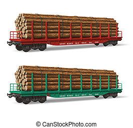ferrocarril, madera, flatcars