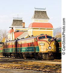 ferrocarril, museo, conway norte, new hampshire, estados...