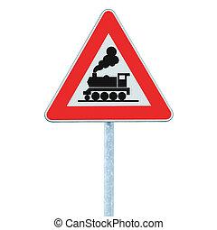 ferrocarril, paso a nivel, señal, sin, barrera, o, puerta, adelante