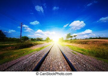 ferrocarril, pistas, debajo, cielo azul, ir, a, successs