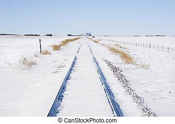 ferrocarril, pistas, en, snow.