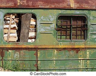ferrocarril, vagón, con, madera