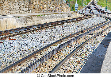 ferrocarril,  vall,  De,  nuria, pistas, ferrocarril, estante, españa