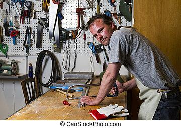 ferronnier, table, esprit, scie, fonctionnement