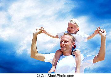 ferroutage, contre, père, joyeux, ciel, cavalcade, fils, sien, donner