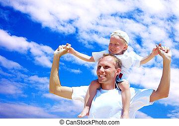 ferroutage, contre, père, joyeux, ciel, fond, cavalcade, fils, sien, donner