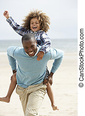 ferroutage, plage, père, jouer, fils