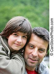 ferroutage, sien, dos, père, enfant, équitation