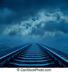 ferrovia, a, nuvoloso, orizzonte, in, notte