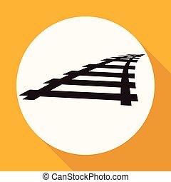 ferrovia, branca, longo, sombra, círculo, ícone