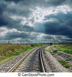 ferrovia, drammatico, va, orizzonte