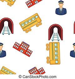 ferrovia, elementos, padrão, caricatura, estilo