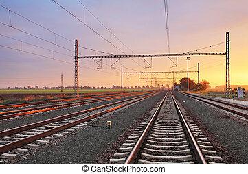 ferrovia, em, pôr do sol