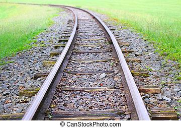 ferrovia, erba, verde, orizzonte, va