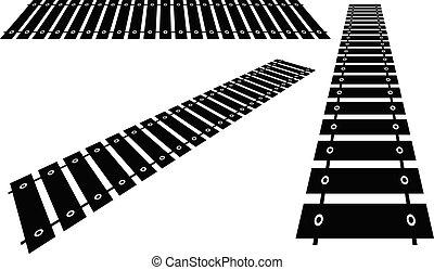 ferrovia, estrada ferro, perspectiva