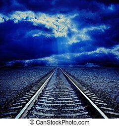 ferrovia, in, notte, a, nuvoloso, orizzonte
