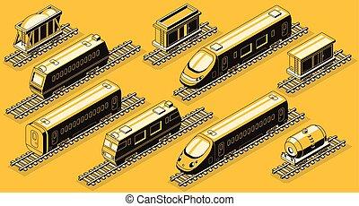 ferrovia, indústria, elementos, isometric, vetorial, jogo
