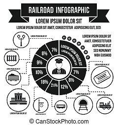 ferrovia, infographic, elementos, simples, estilo