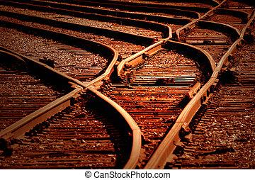 ferrovia, interruptores, em, amanhecer
