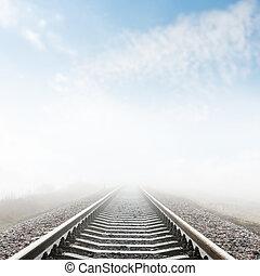 ferrovia, nebbia, closeup, orizzonte, va