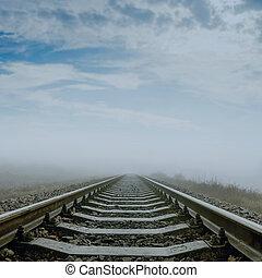 ferrovia, nebbia, fuoco molle, horizon.