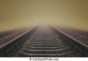 ferrovia, nebbia, grunge, orizzonte