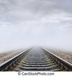 ferrovia, nebbia, nubi, orizzonte