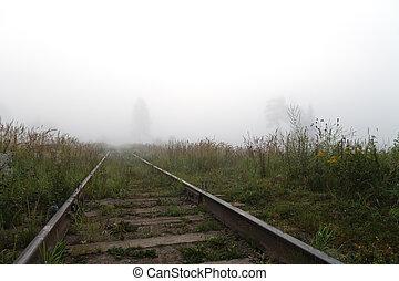 ferrovia, nebbia, orizzonte
