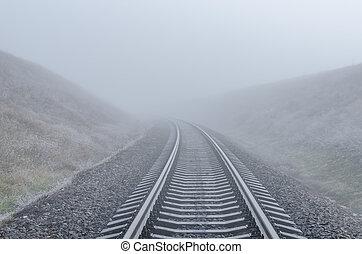 ferrovia, nebbia, orizzonte, va