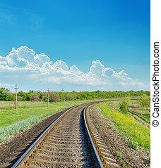 ferrovia, paesaggio, verde, orizzonte, va