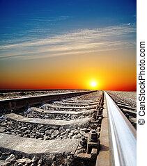 ferrovia, para, pôr do sol