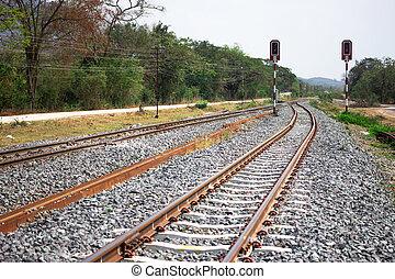 ferrovia, piste, sullo sfondo, di, scenario