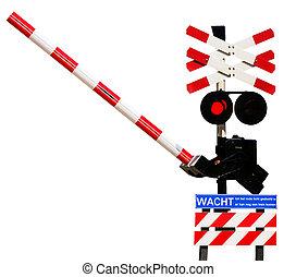 ferrovia, sinal, abertos, metade