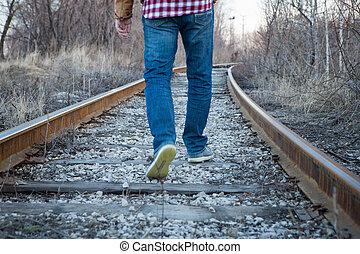 ferrovia, strada, orizzonte