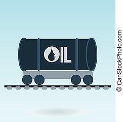 ferrovia, tanque, ícone