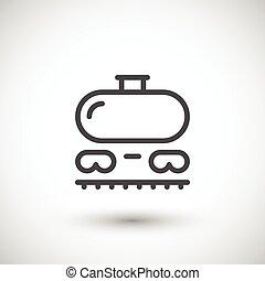ferrovia, tanque, linha, ícone