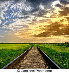 ferrovia, tramonto
