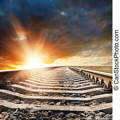 ferrovia, tramonto, orizzonte