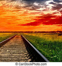 ferrovia, tramonto, sanguinante