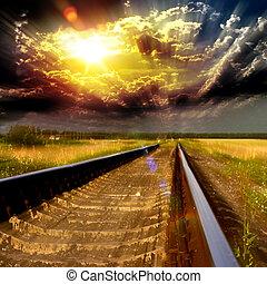 ferrovia, tramonto, speedway, sfocato