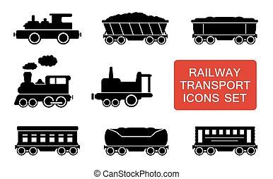 ferrovia, trasporto, icone