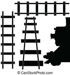 ferrovia, trem, ilustração