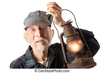 ferrovia, uomo, presa a terra, lanterna