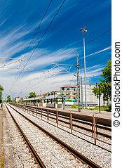 ferrovia, va, a, orizzonte
