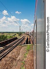ferrovia, va, a, orizzonte, in, campo