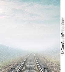 ferrovia, va, a, orizzonte, in, nebbia