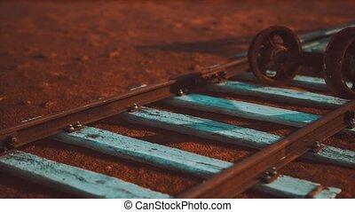 ferroviaire, abandonnés, pistes, désert