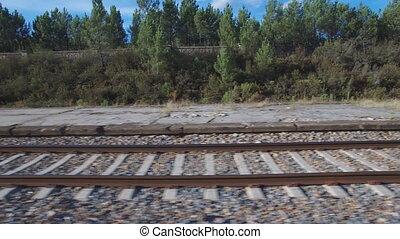 ferroviaire, appareil photo, sur, glissement