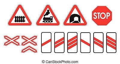 ferroviaire, attention, avertissement, panneaux signalisations