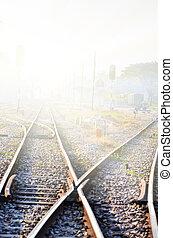 ferroviaire, brouillard